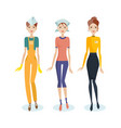 girls in work clothes personal service form vector image vector image