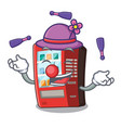juggling toy vending machine above cartoon table vector image