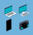 laptop computer cell smart phone camera set blue vector image