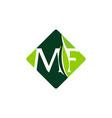 letter mf leaf vector image