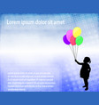 little girl holding balloons over abstract vector image vector image