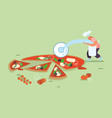 man people baking and eating huge pizza male vector image vector image