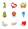 mom congratulations icons set cartoon style vector image
