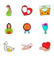 Mom congratulations icons set cartoon style