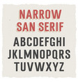 narrow sans serif 002 vector image