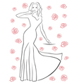 Nice woman in a long dress among roses vector image vector image