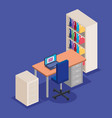 office workplace with desk and laptop scene vector image