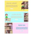 online library and learn with internet book fair vector image vector image