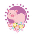 pig with flower vector image vector image