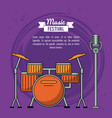 poster music festival in purple background with vector image vector image