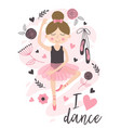 poster with cute ballerina girl vector image vector image