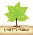 root tree hold on ground for earth vector image