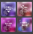 set greeting cards for mothers day hand drawn vector image vector image