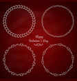 set of 4 circle cute frames for the st valentine vector image
