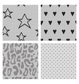Set of black lace fabric seamless patterns