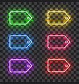 set of neon price tags with different colors vector image