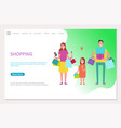 shopping web page happy family mother father girl vector image vector image