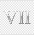 silver roman numeral number 7 vii seven in vector image