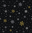 snowflakes gold and silver seamless pattern vector image vector image