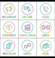 social media and internet round linear icons set vector image