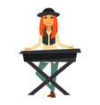 stylish redhead girl plays electric piano isolated vector image vector image