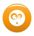 surprised smile icon orange vector image