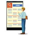 woman looking at job posting vector image