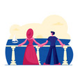 young couple stand on outdoor terrace looking on vector image