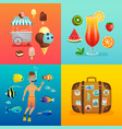 summer set with ice cream cocktails suitcase vector image