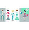 girl character creation set cartoon flat vector image