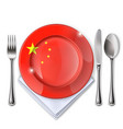 a plate with an chinese flag vector image vector image