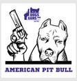 american pit bull dog with revolvers gun