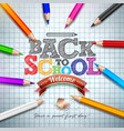back to school design with colorful pencil and vector image