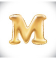 balloon letter m realistic 3d isolated gold vector image vector image