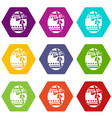 big easter egg icon set color hexahedron vector image