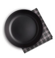 black plate and napkin vector image vector image
