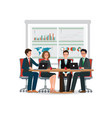 business people meeting at a big conference desk vector image vector image
