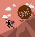 Businessman running away from heavy debt that is vector image vector image
