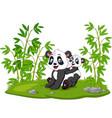 cartoon mom and baby panda in bamboo tree