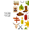 cartoon wild west elements background with vector image vector image