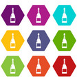 champagne icons set 9 vector image vector image