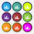 Chart icon sign Nine multi colored round buttons vector image vector image