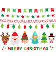 christmas characters santa deer elf angel vector image