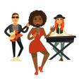 cool music band performs pop song isolated vector image
