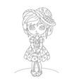 cute cartoon little girl coloring book vector image vector image