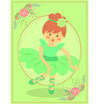 Cute Green Ballerina Girl vector image vector image