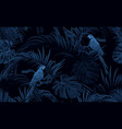 dark blue monochrome tropical seamless pattern vector image vector image