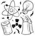 Doodle power source nuclear vector image