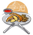 escalope with fries vector image