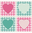 Floral background with decorative patchwork hearts vector image vector image